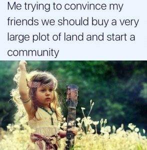 Me trying to convince my friends to build a utopian community