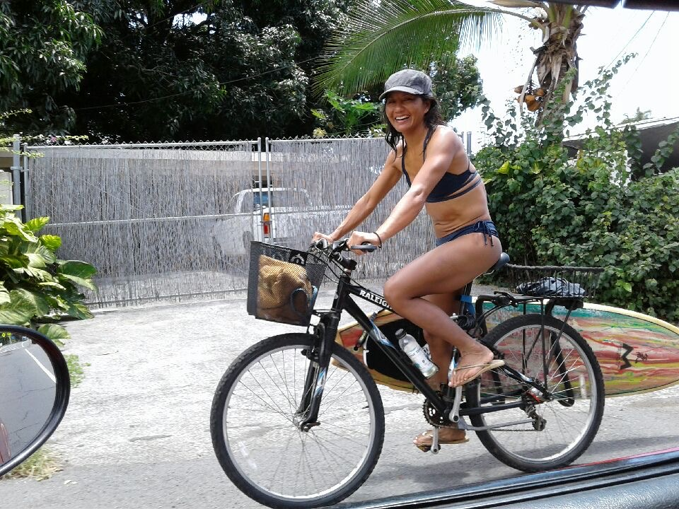 Mary Huang on a bike