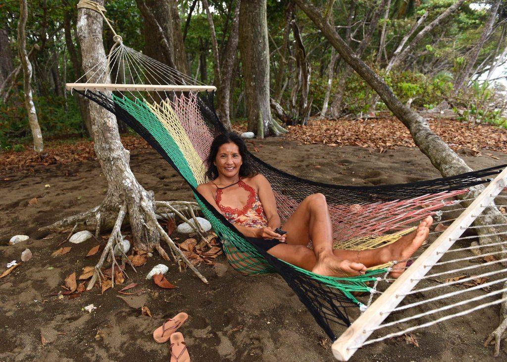 Mary in a hammock