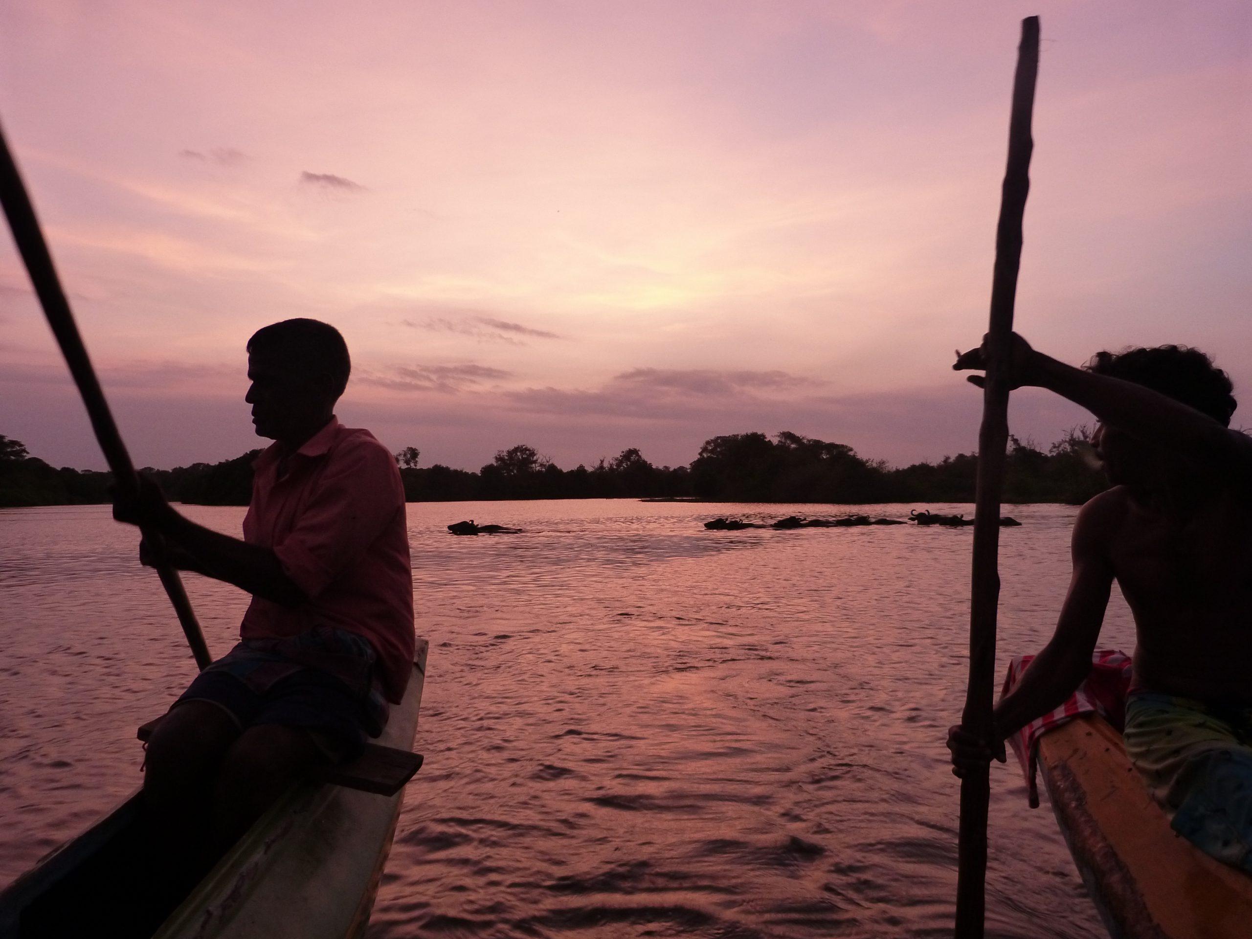 Fishermen in front of sunset, Sri Lanka