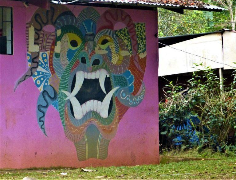 boruca people, mask mural on bar